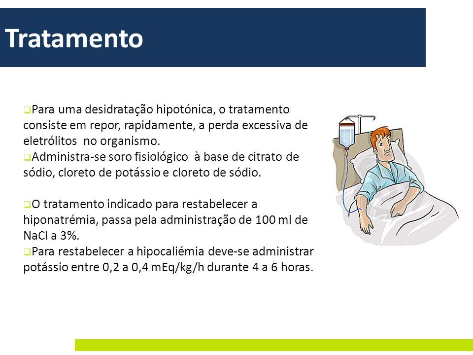 Tratamento Para uma desidratação hipotónica, o tratamento consiste em repor, rapidamente, a perda excessiva de eletrólitos no organismo.