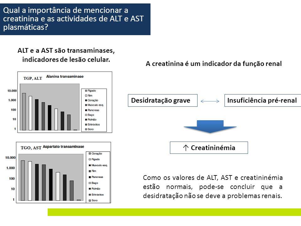ALT e a AST são transaminases, indicadores de lesão celular.