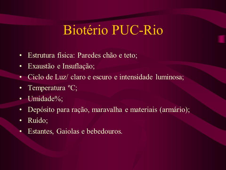 Biotério PUC-Rio Estrutura física: Paredes chão e teto;