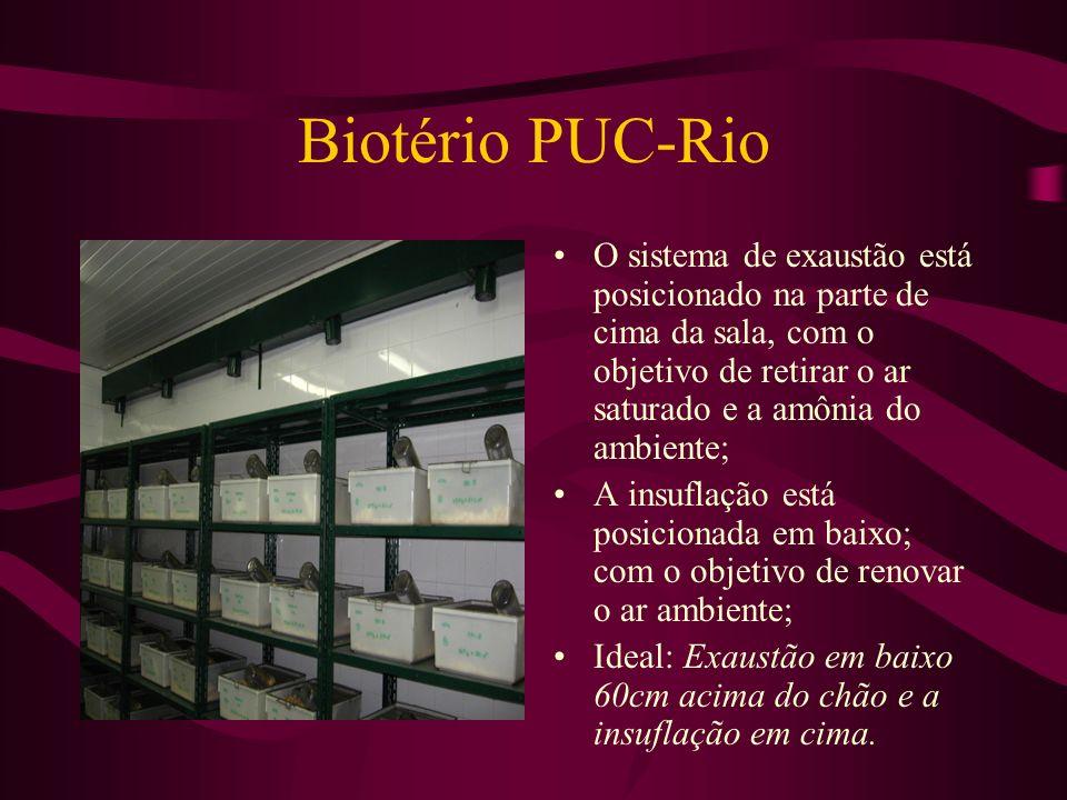 Biotério PUC-Rio O sistema de exaustão está posicionado na parte de cima da sala, com o objetivo de retirar o ar saturado e a amônia do ambiente;