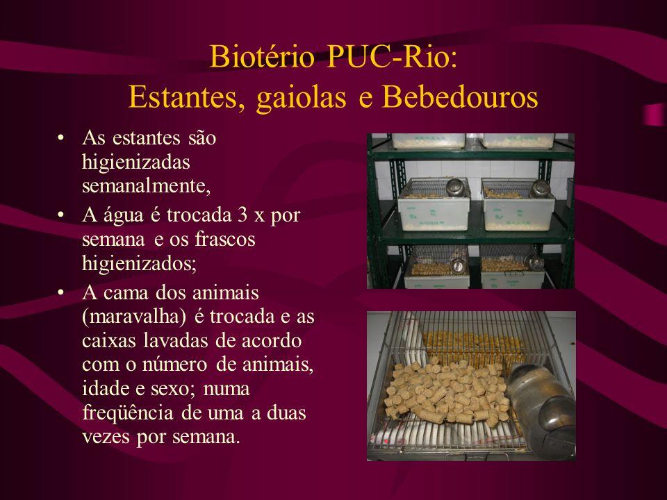 Biotério PUC-Rio: Estantes, gaiolas e Bebedouros