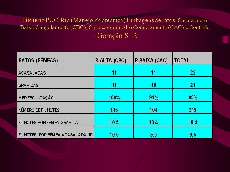Biotério PUC-Rio (Manejo Zootécnico) Linhagens de ratos: Carioca com Baixo Congelamento (CBC), Cariocas com Alto Congelamento (CAC) e Controle – Geração S=2