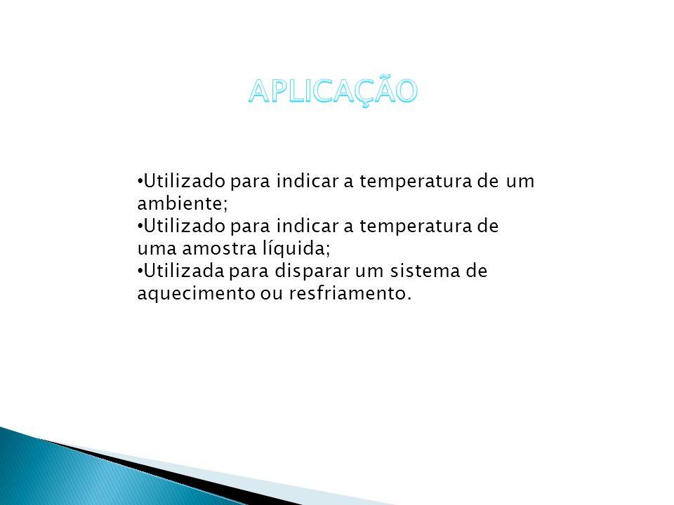 APLICAÇÃO Utilizado para indicar a temperatura de um ambiente;