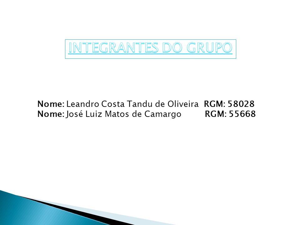 INTEGRANTES DO GRUPO Nome: Leandro Costa Tandu de Oliveira RGM: 58028