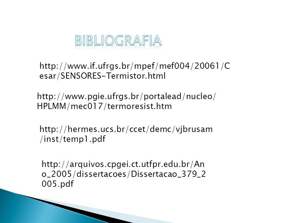 BIBLIOGRAFIA http://www.if.ufrgs.br/mpef/mef004/20061/Cesar/SENSORES-Termistor.html.