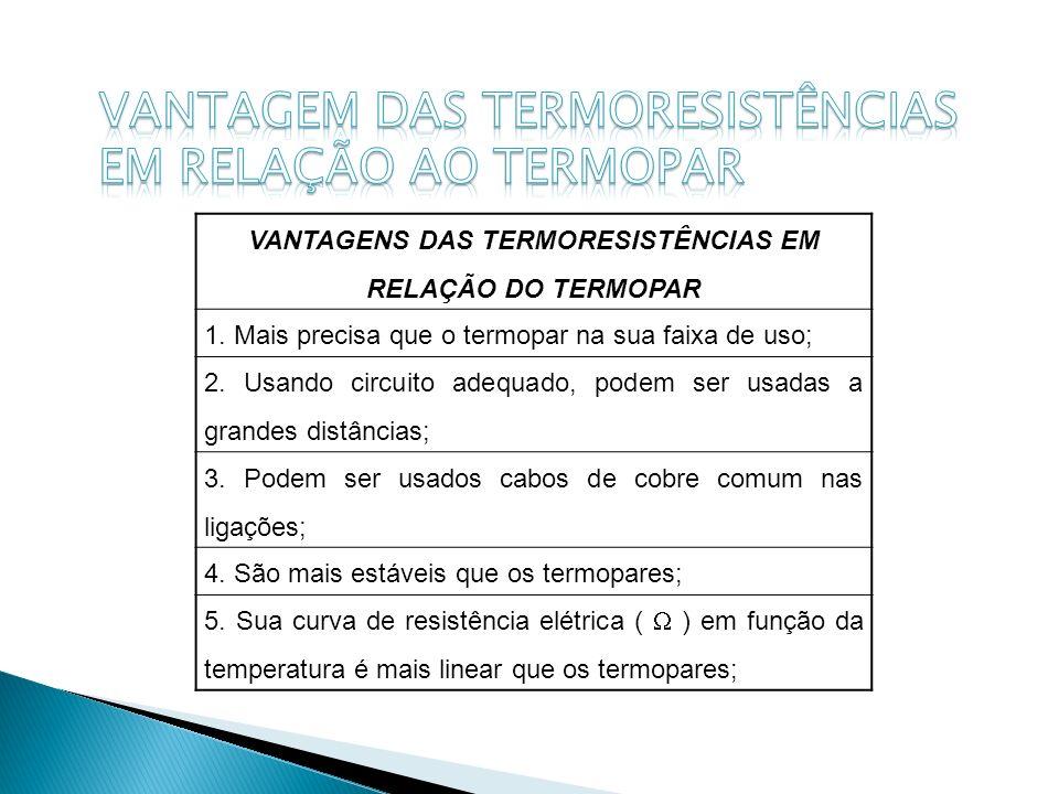 VANTAGENS DAS TERMORESISTÊNCIAS EM RELAÇÃO DO TERMOPAR