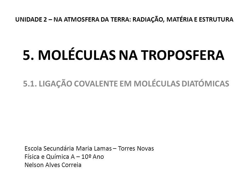 5. MOLÉCULAS NA TROPOSFERA