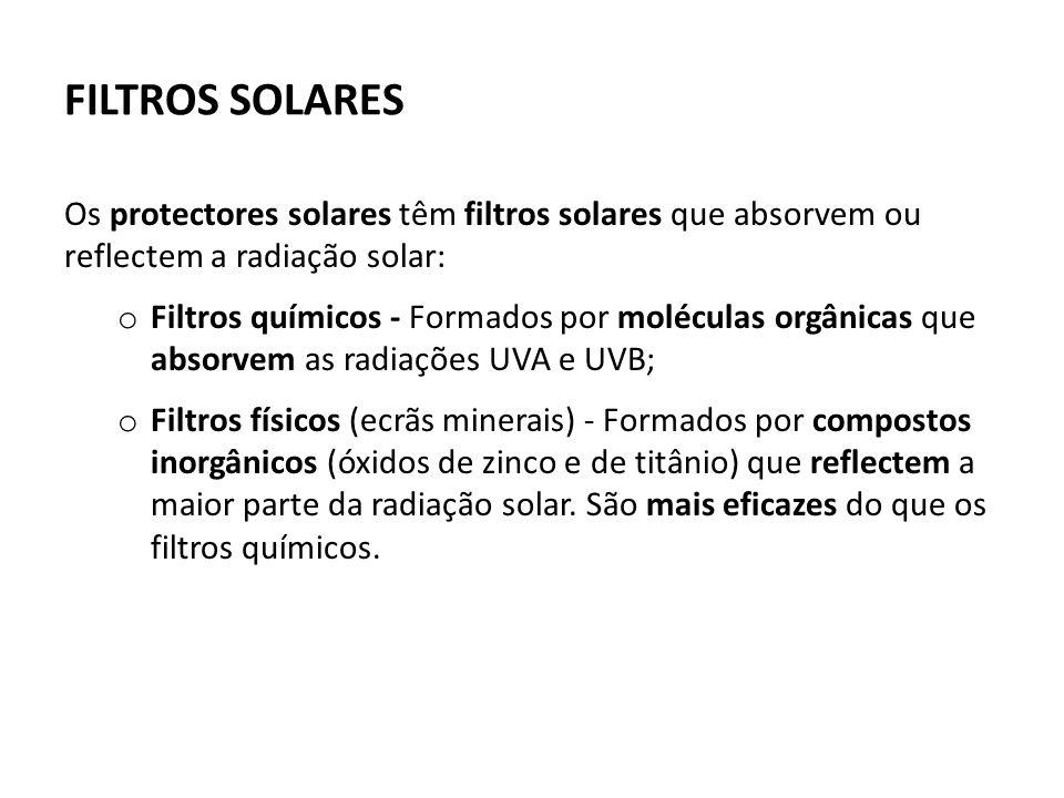 FILTROS SOLARES Os protectores solares têm filtros solares que absorvem ou reflectem a radiação solar: