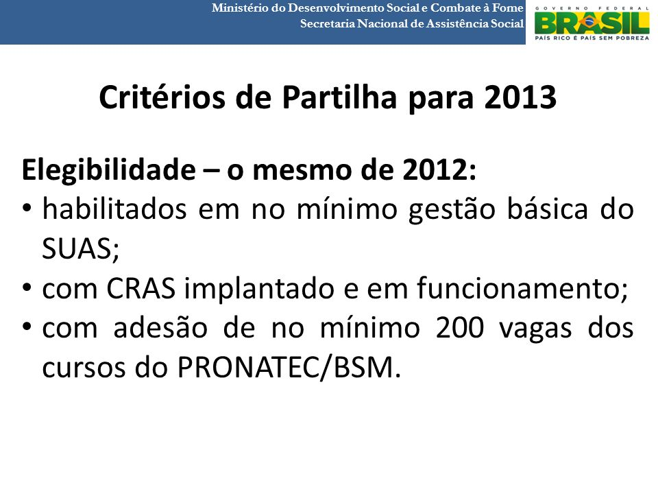Critérios de Partilha para 2013