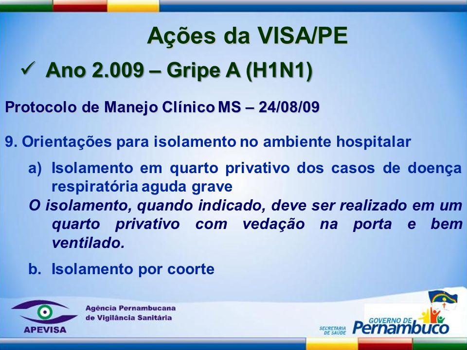 Ações da VISA/PE Ano 2.009 – Gripe A (H1N1)