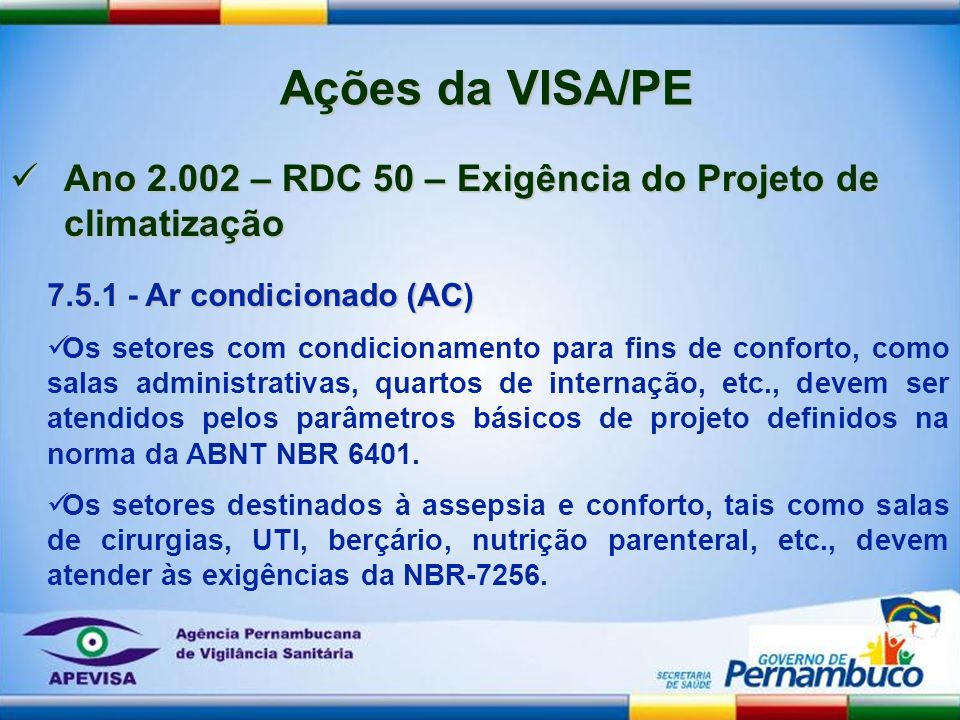 Ações da VISA/PE Ano 2.002 – RDC 50 – Exigência do Projeto de climatização. 7.5.1 - Ar condicionado (AC)