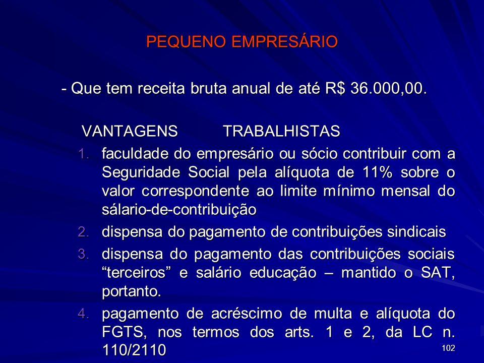- Que tem receita bruta anual de até R$ 36.000,00.