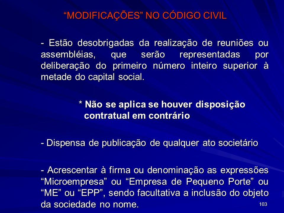 MODIFICAÇÕES NO CÓDIGO CIVIL