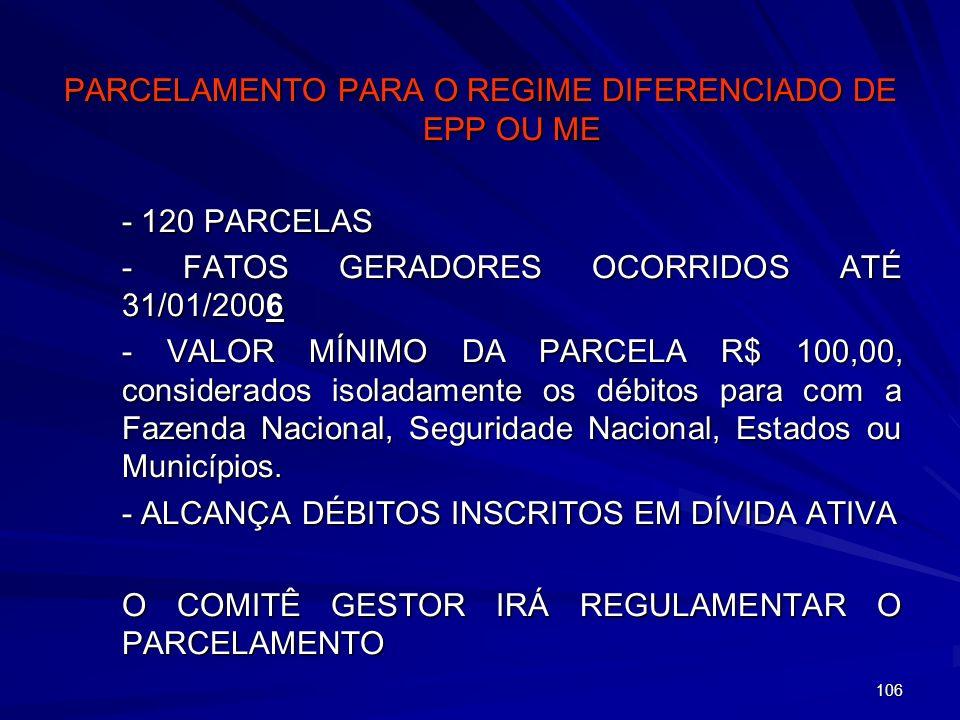 PARCELAMENTO PARA O REGIME DIFERENCIADO DE EPP OU ME