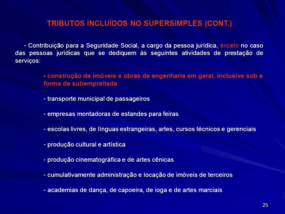 TRIBUTOS INCLUÍDOS NO SUPERSIMPLES (CONT.)