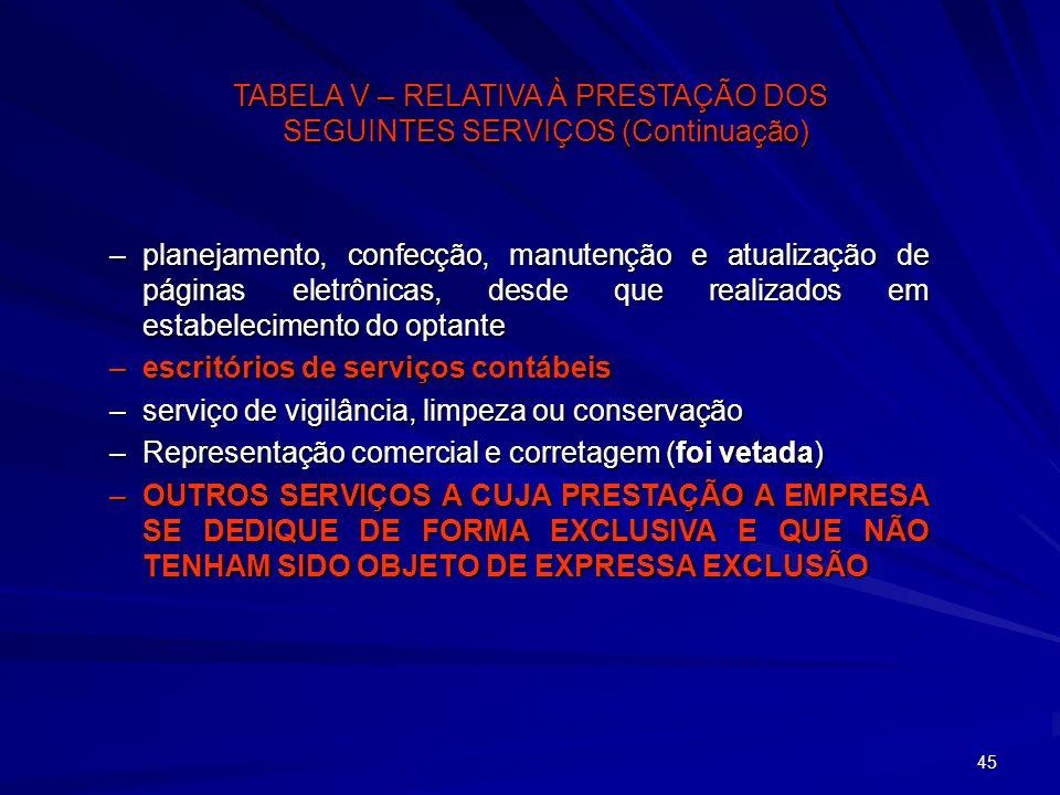 TABELA V – RELATIVA À PRESTAÇÃO DOS SEGUINTES SERVIÇOS (Continuação)