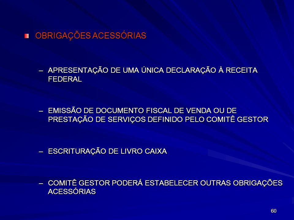 OBRIGAÇÕES ACESSÓRIAS