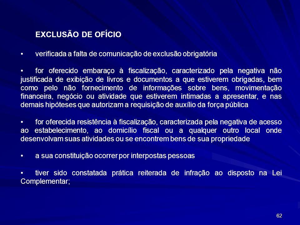 EXCLUSÃO DE OFÍCIO verificada a falta de comunicação de exclusão obrigatória.