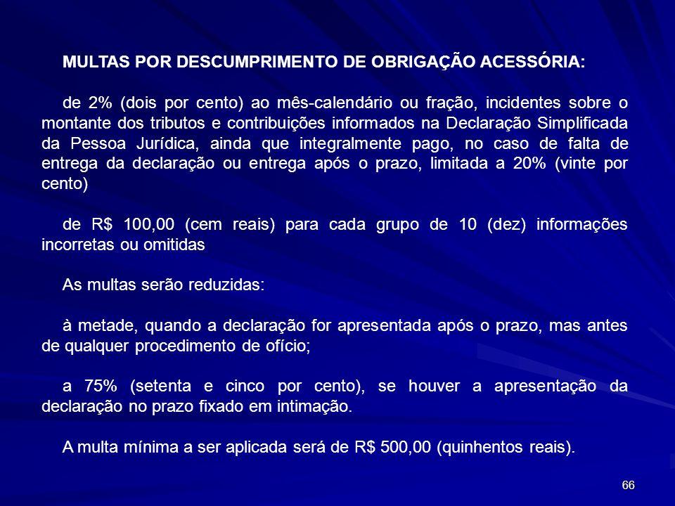 MULTAS POR DESCUMPRIMENTO DE OBRIGAÇÃO ACESSÓRIA: