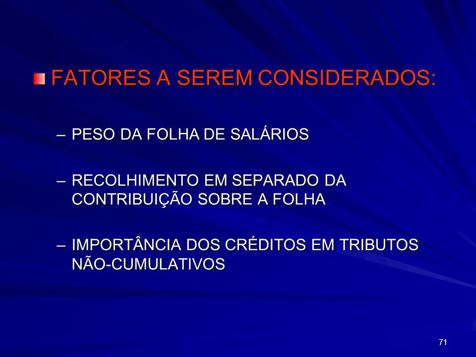 FATORES A SEREM CONSIDERADOS: