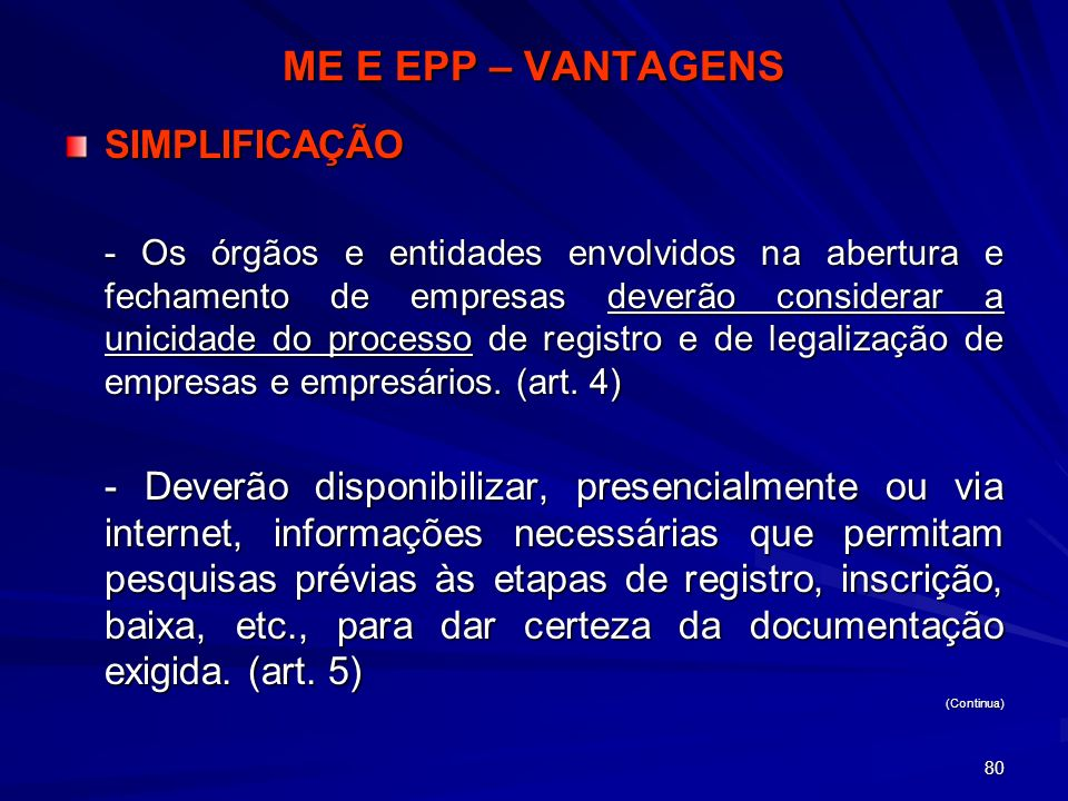 ME E EPP – VANTAGENS SIMPLIFICAÇÃO