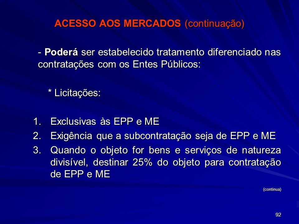 ACESSO AOS MERCADOS (continuação)