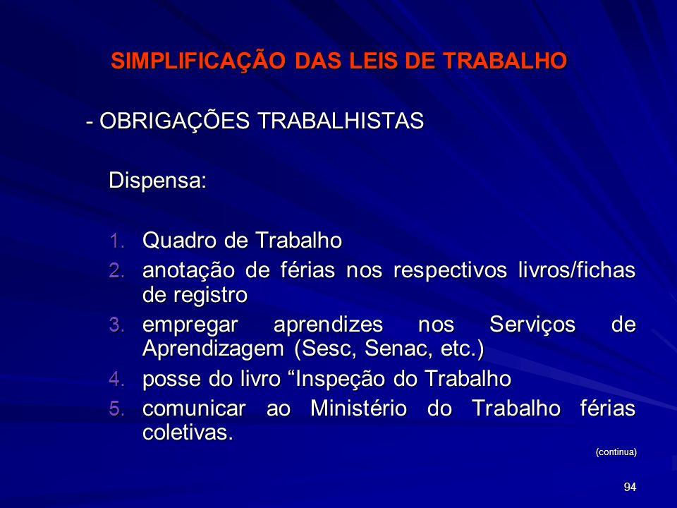 SIMPLIFICAÇÃO DAS LEIS DE TRABALHO
