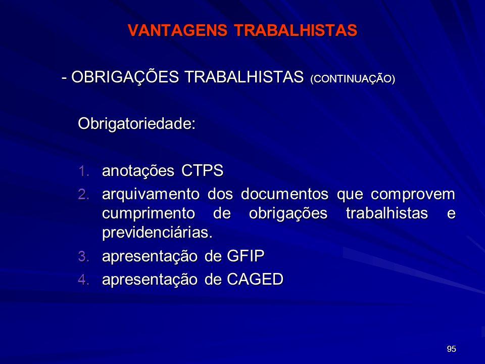 VANTAGENS TRABALHISTAS