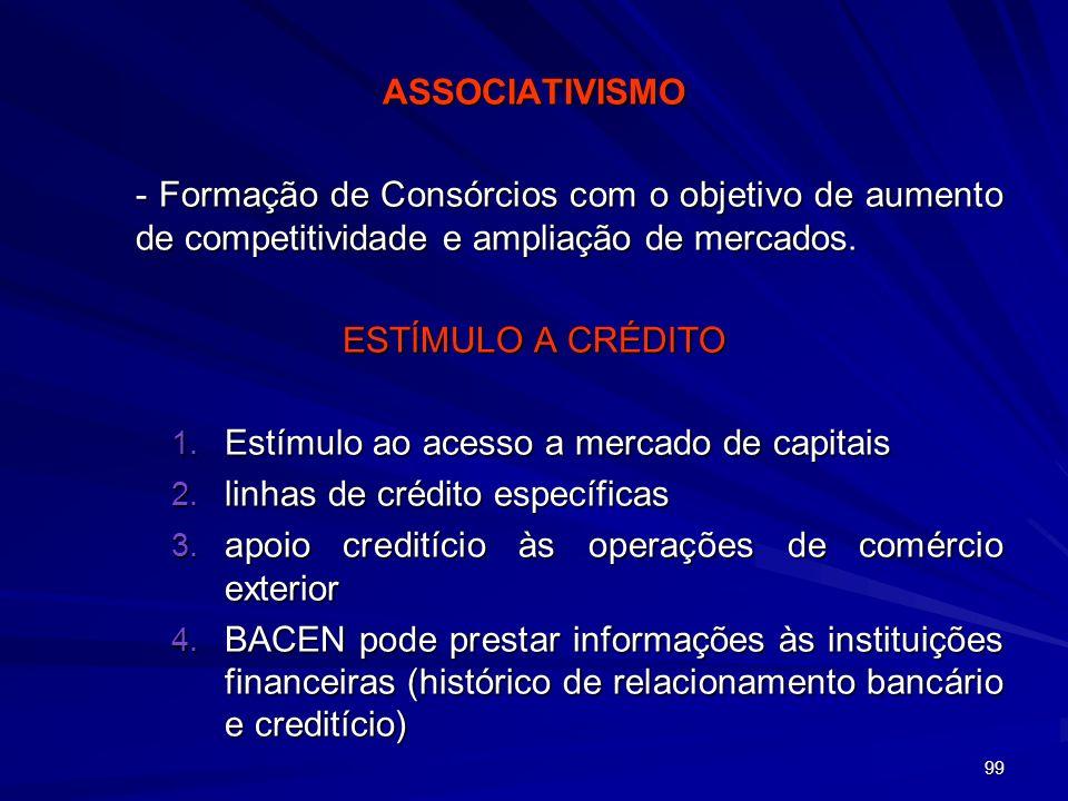 Estímulo ao acesso a mercado de capitais linhas de crédito específicas