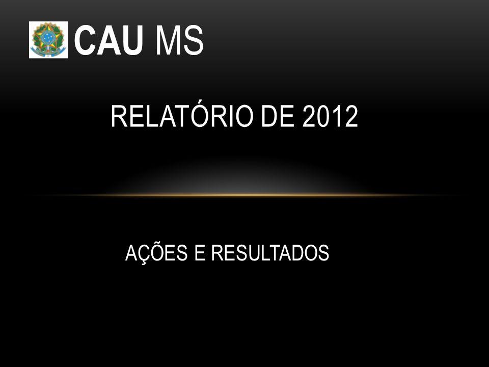 CAU MS RELATÓRIO DE 2012 AÇÕES E RESULTADOS