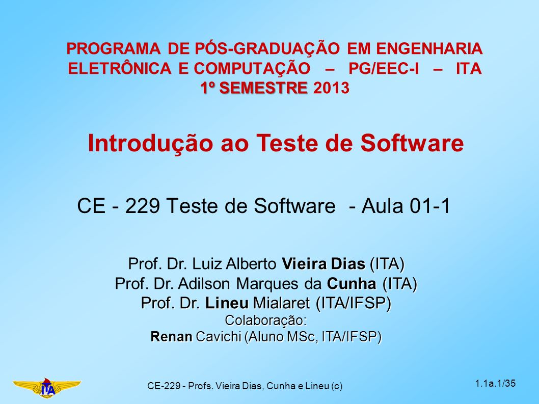 CE - 229 Teste de Software - Aula 01-1
