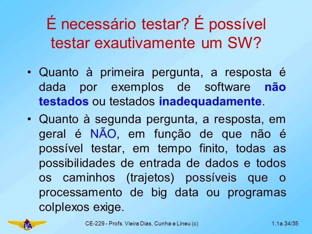 É necessário testar É possível testar exautivamente um SW