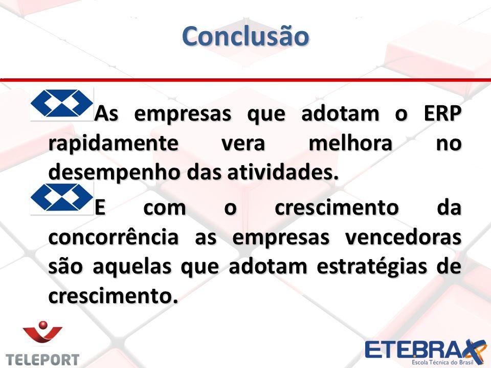 Conclusão As empresas que adotam o ERP rapidamente vera melhora no desempenho das atividades.