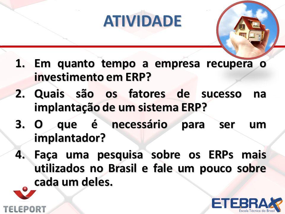 ATIVIDADE Em quanto tempo a empresa recupera o investimento em ERP