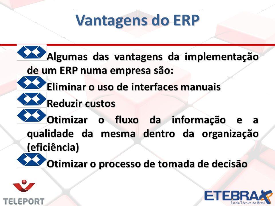 Vantagens do ERP Algumas das vantagens da implementação de um ERP numa empresa são: Eliminar o uso de interfaces manuais.
