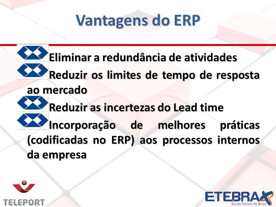 Vantagens do ERP Eliminar a redundância de atividades