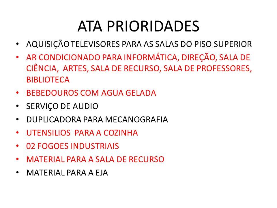 ATA PRIORIDADES AQUISIÇÃO TELEVISORES PARA AS SALAS DO PISO SUPERIOR