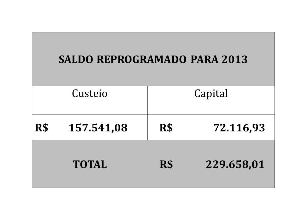 SALDO REPROGRAMADO PARA 2013