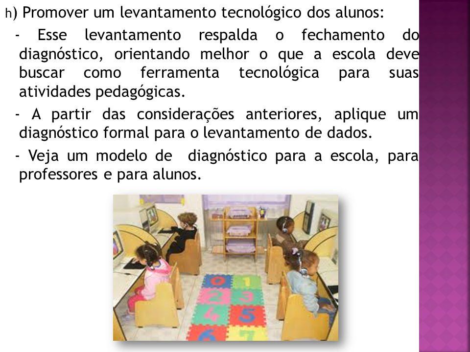 h) Promover um levantamento tecnológico dos alunos: