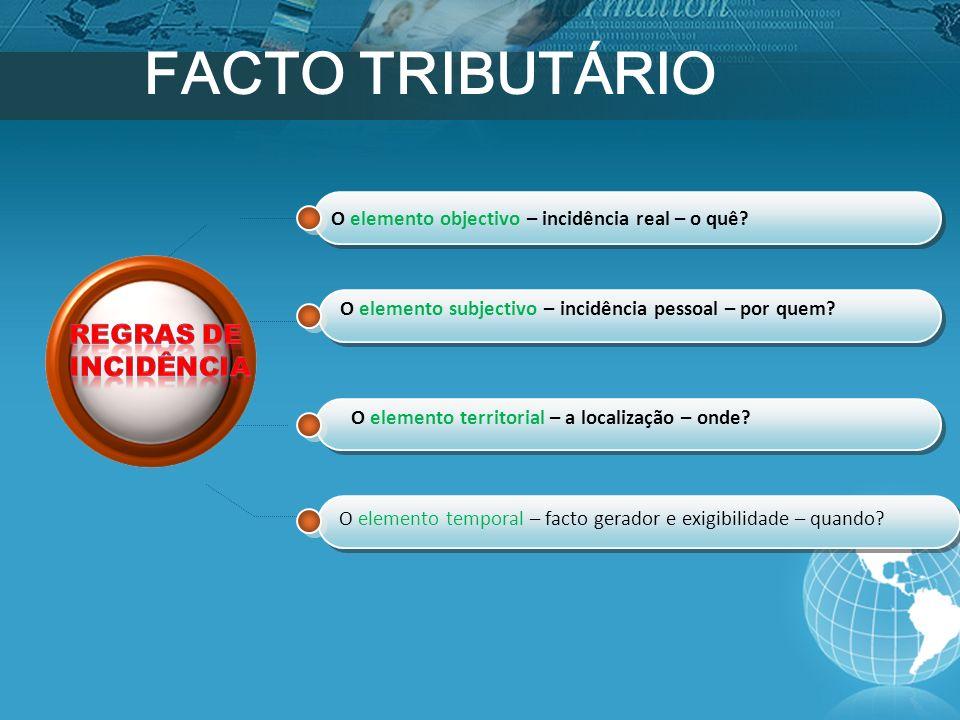 FACTO TRIBUTÁRIO REGRAS DE INCIDÊNCIA