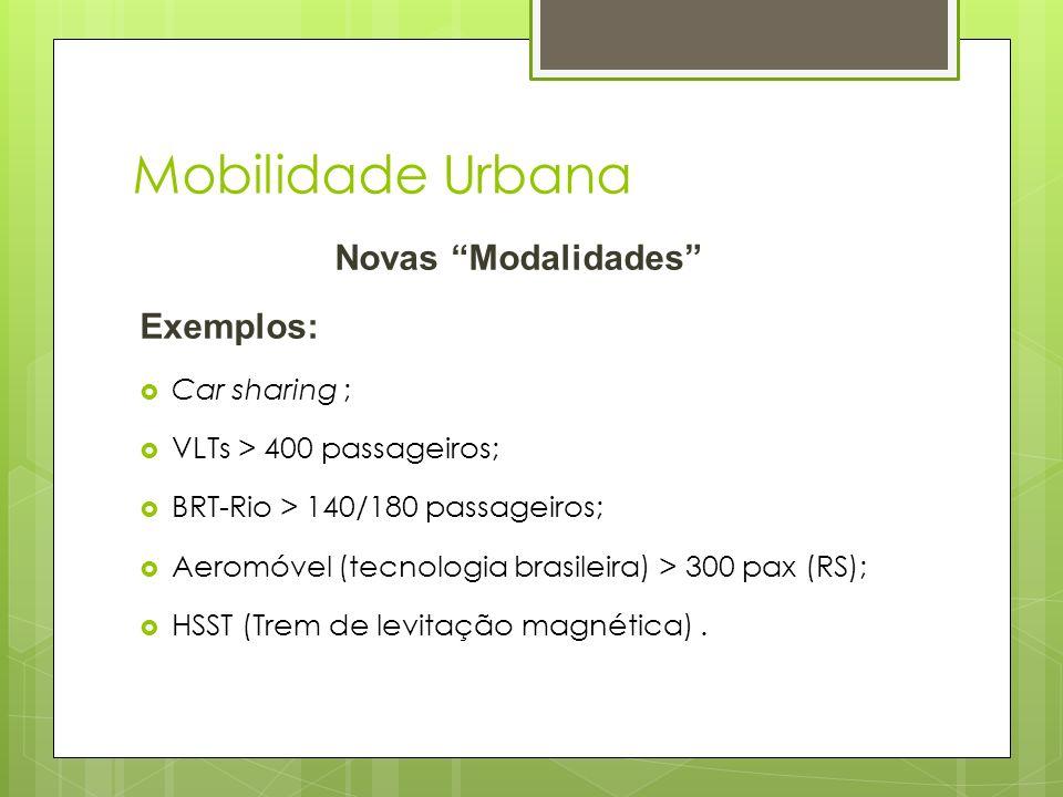 Mobilidade Urbana Novas Modalidades Exemplos: Car sharing ;