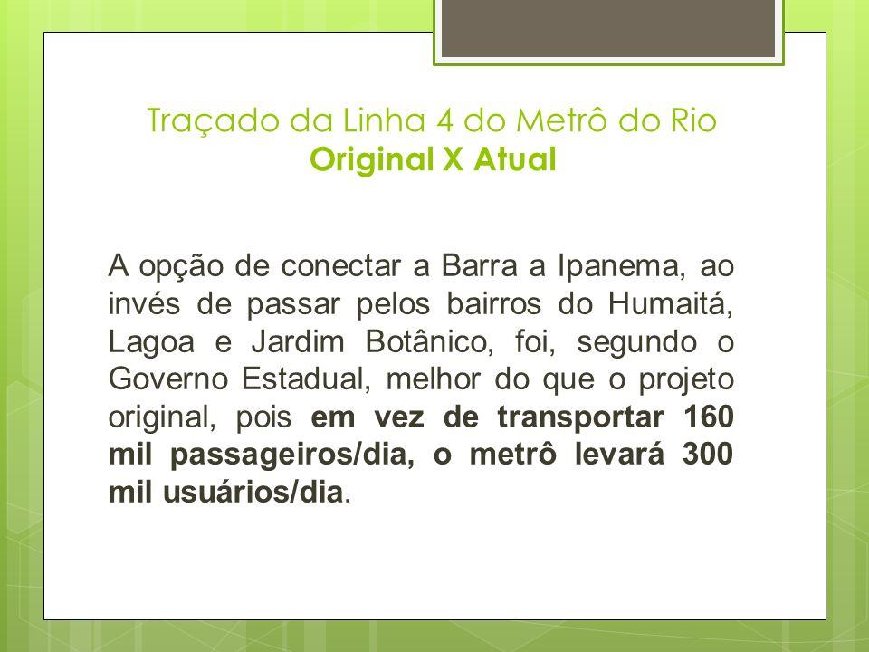 Traçado da Linha 4 do Metrô do Rio Original X Atual