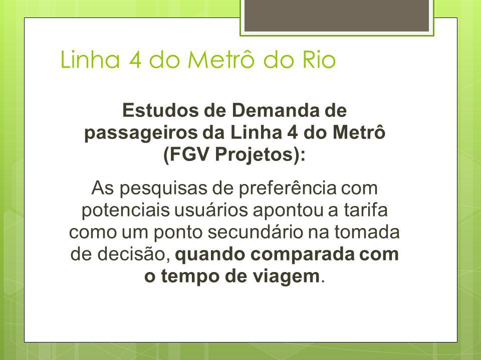Estudos de Demanda de passageiros da Linha 4 do Metrô (FGV Projetos):