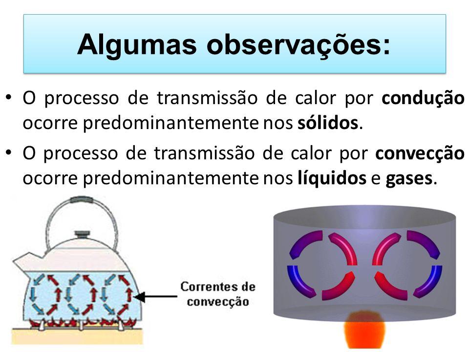 Algumas observações: O processo de transmissão de calor por condução ocorre predominantemente nos sólidos.