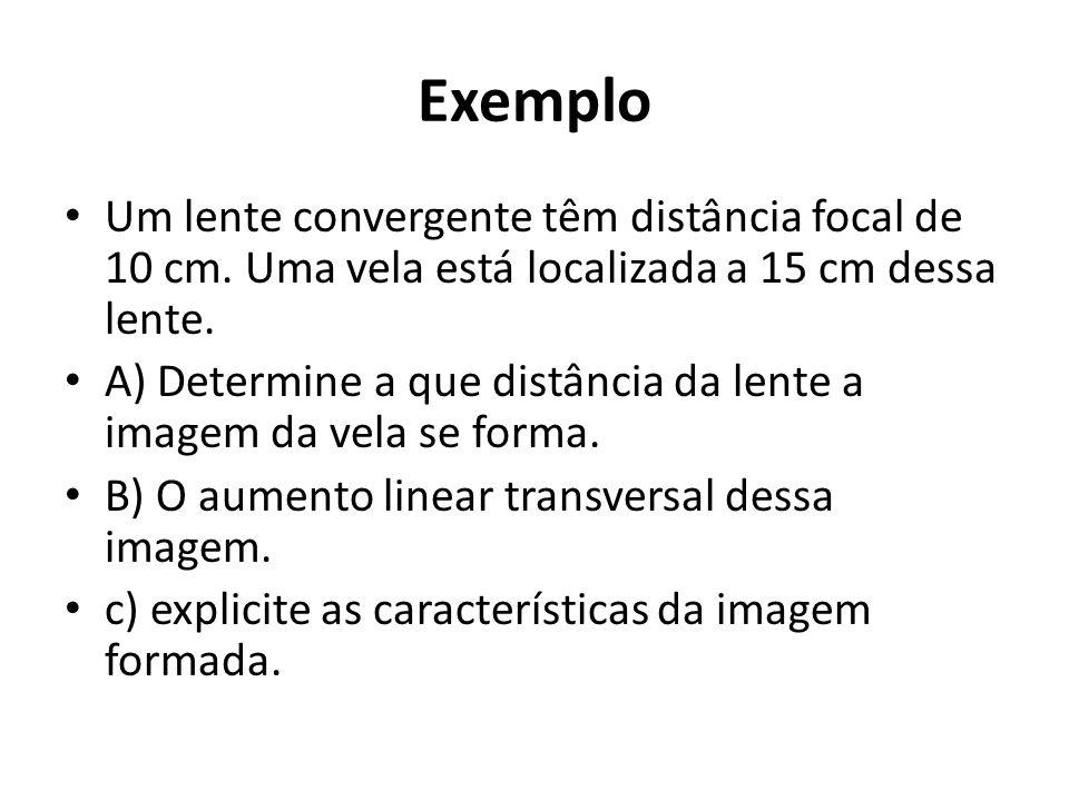Exemplo Um lente convergente têm distância focal de 10 cm. Uma vela está localizada a 15 cm dessa lente.