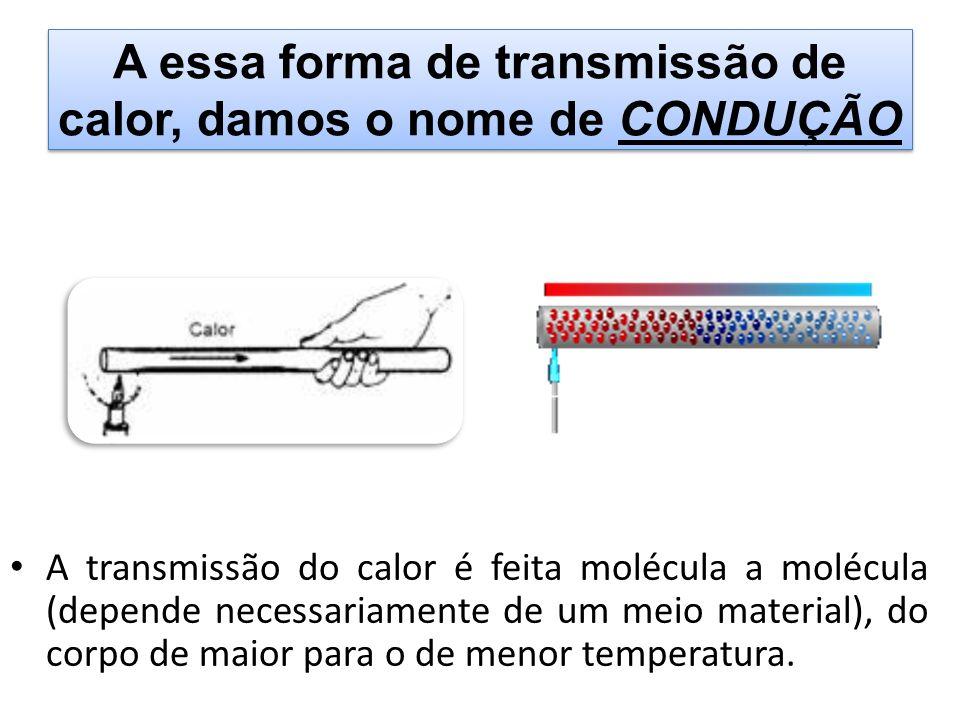A essa forma de transmissão de calor, damos o nome de CONDUÇÃO