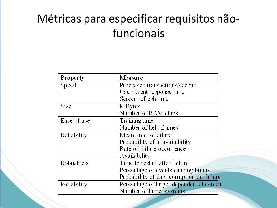 Métricas para especificar requisitos não-funcionais