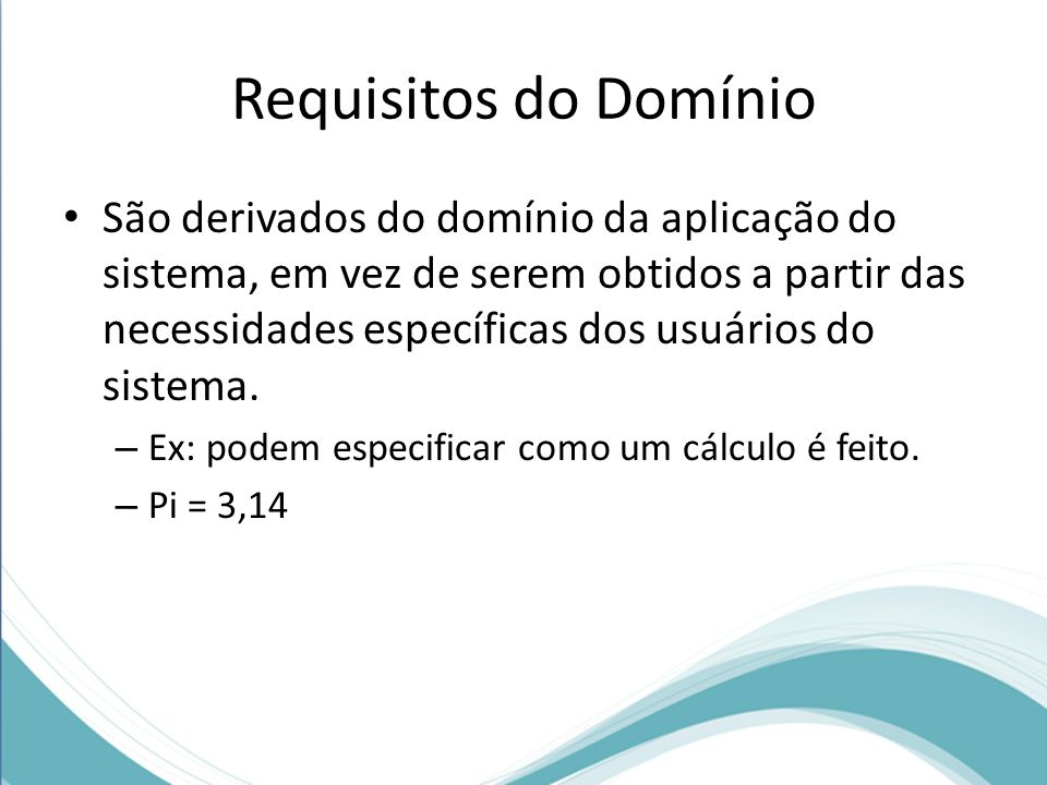 Requisitos do Domínio
