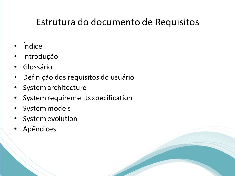 Estrutura do documento de Requisitos