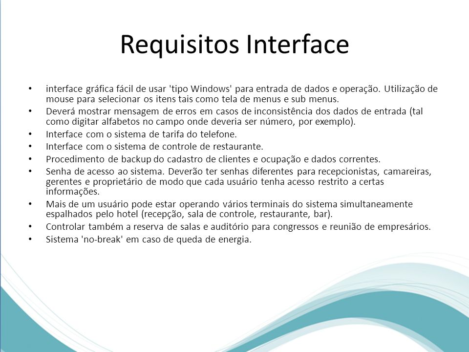 Requisitos Interface